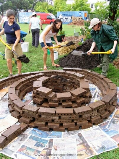 Spiral Brick Raised Garden Beds