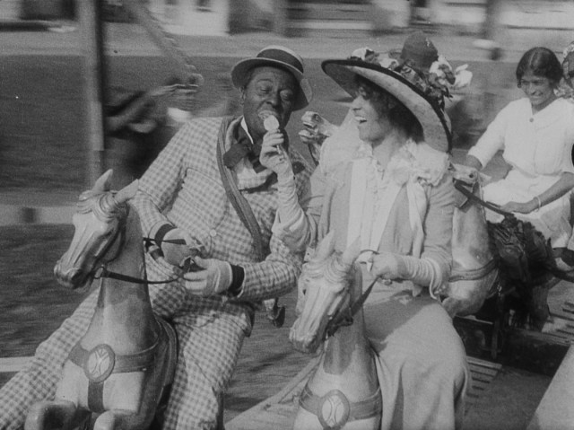A scene from Bert Williams: Lime Kiln Field Day Project shows Odessa Warren Grey and Bert Williams in a light-hearted moment. The film is unusual for its time in that it shows dignified black characters as romantic le