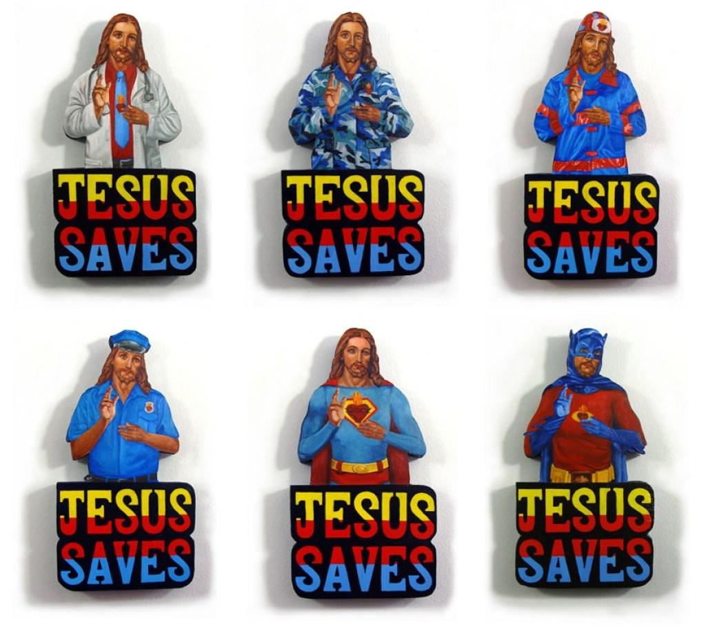 "L-R ""Jesus Saved Me From Cancer,"" ""Jesus Saved Me From The Towel Heads,"" ""Jesus Saved Me From The Fire,"" ""Jesus Saved Me From Speeding,"" ""Jesus Saved Me From The Towel Heads,"" ""Jesus Saved Me From The Joker"""