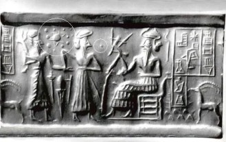Ancient Sumerian clay tablet showing the 'two suns' or Nibiru