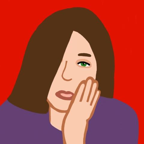 dibujo de mujer que sostiene la mandíbula