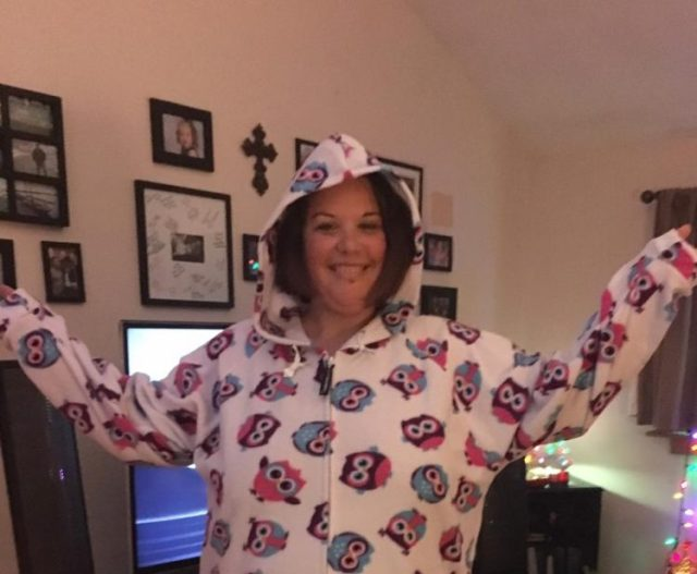 woman wearing onesie pajamas