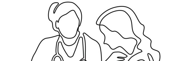 An illustration of a doctor and a woman, drawn with a continuous line.