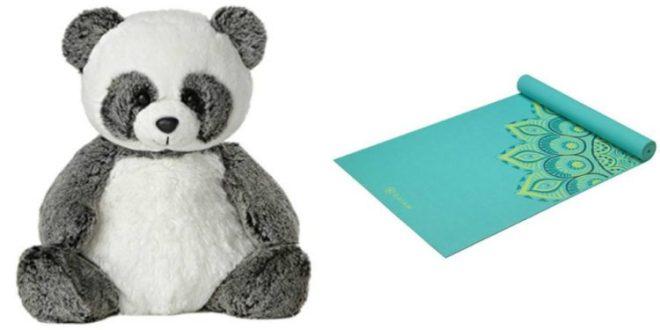 A stuffed animal and a yoga matt
