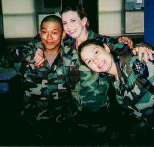 The contributor with her fellow soldiers