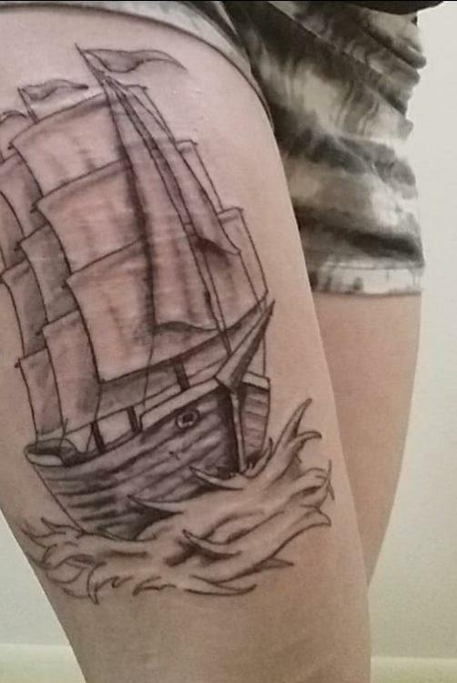 A tattoo of a ship
