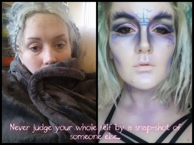 side by side photos of a woman. in the left photo she's wrapped in a blanket with her hair up and no makeup. in the right photo she is wearing a lot of makeup