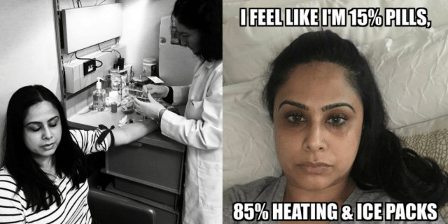 "left photo: woman getting blood drawn. right photo: woman lying in bed with caption ""I feel like 15% pills, 85% heating and ice packs"""