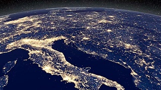Cloud free night-time view of Earth seen from space