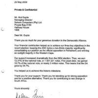 DA Helen Zille thanks Guptas donation letter 2013 - lies