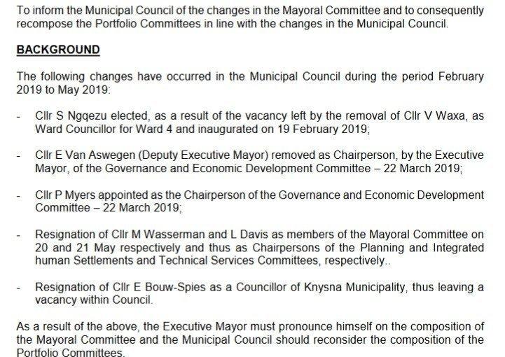 2019.06.11 Knysna Mayco and portfolio committee changes