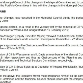 2019.06.11 Knysna Mayco and portfolio committee changes