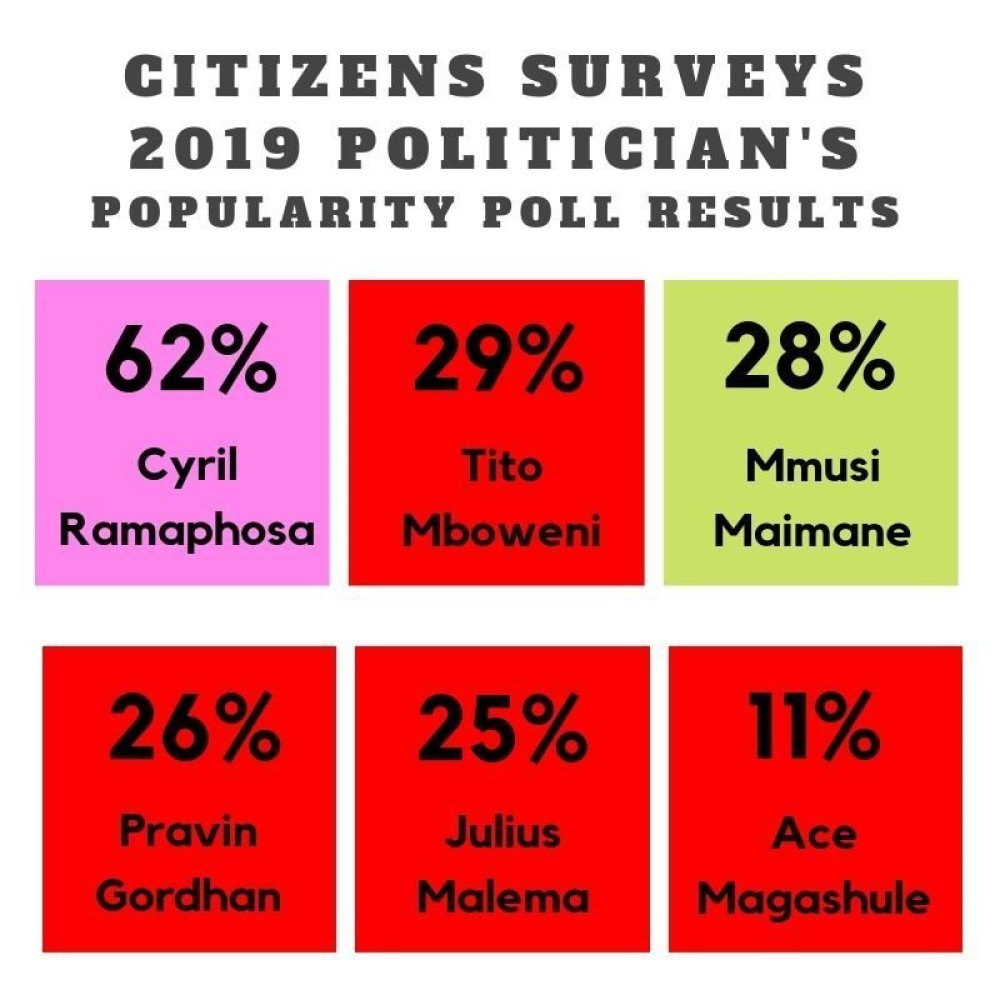 South Africa politicians popularity survey July 2019