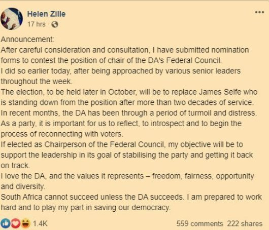 2019.10.04 HZ announces run for DA Fedex leadership