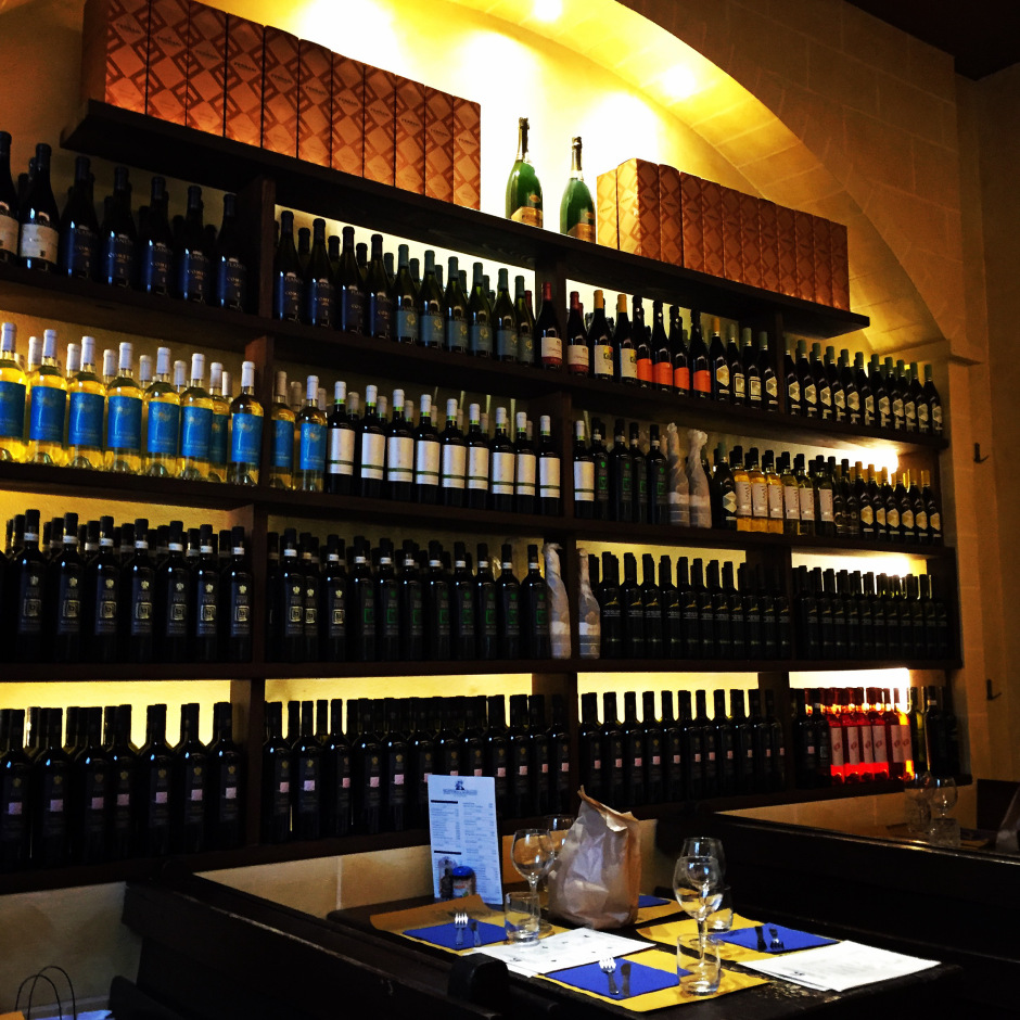 The wine selection at Trattoria Il marinaio