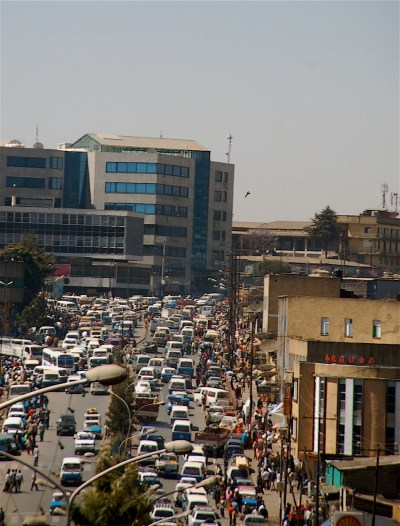 Traffic in downtown Addis