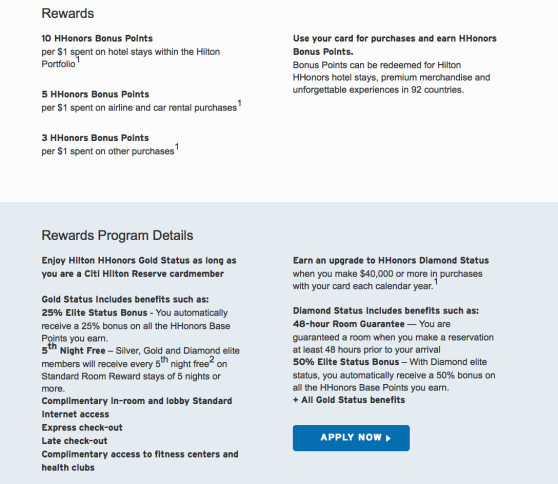 citi hilton reserve sign up bonus