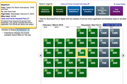 American Airlines AAdvantage award ticket, American Airlines economy award ticket