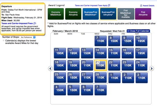 American Airlines AAdvantage award ticket, aa business class award ticket