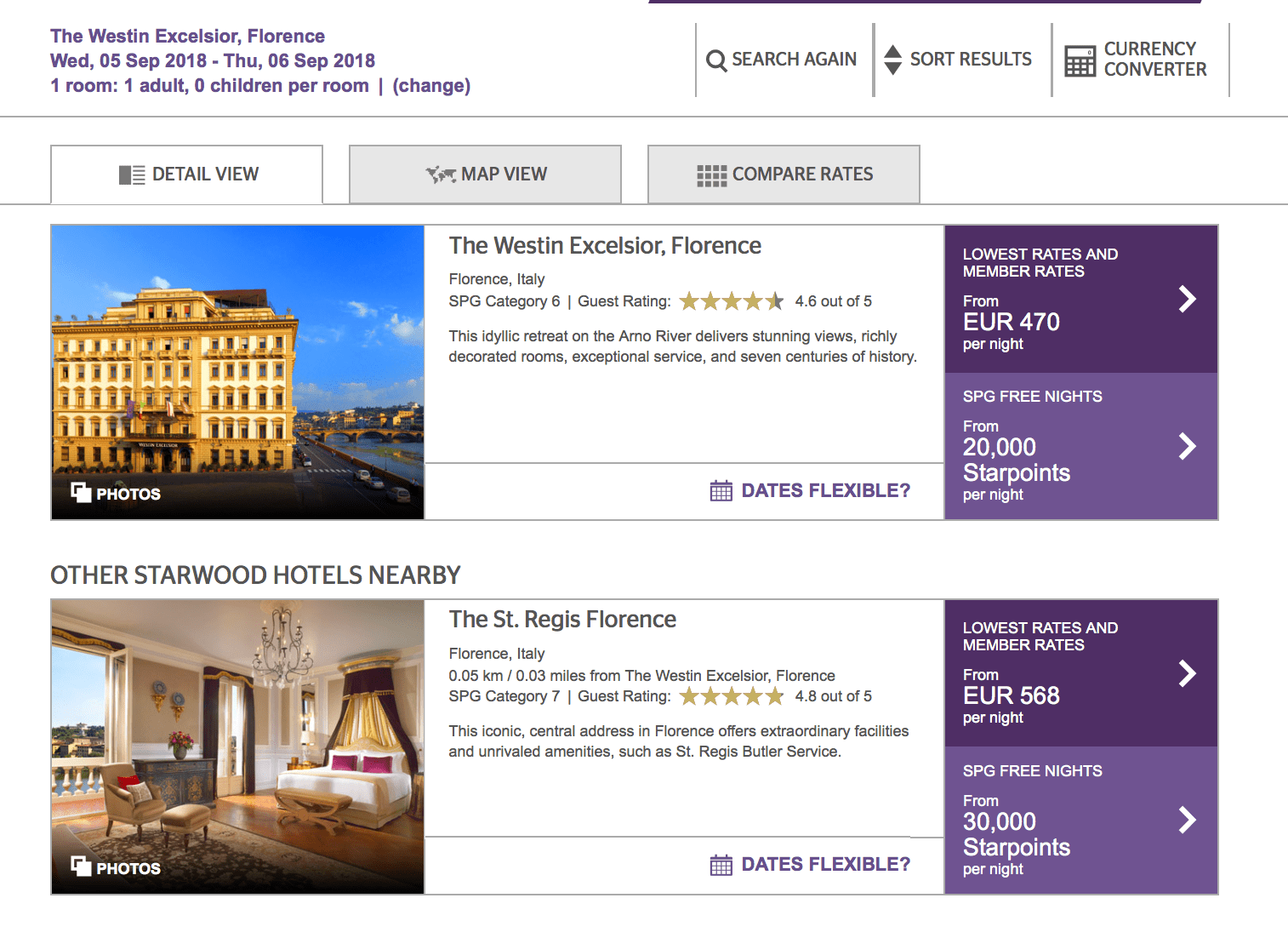 Starwood SPG starpoints Florence hotels