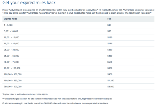 reinstate expired American Airlines miles, when do aa miles expire