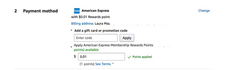 Amazon Amex 20% off pay with points