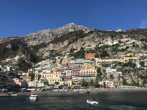 View of Positano from the ferry to Amalfi
