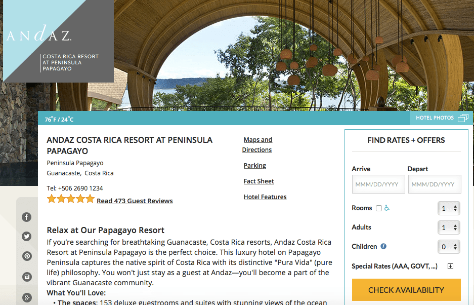 Andaz Costa Rica on points, Hyatt with ultimate rewards points