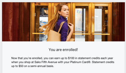 how to enroll in platinum card Saks benefit