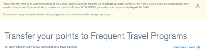 Chase Ultimate Rewards ends partnership with Korean Air August 2018