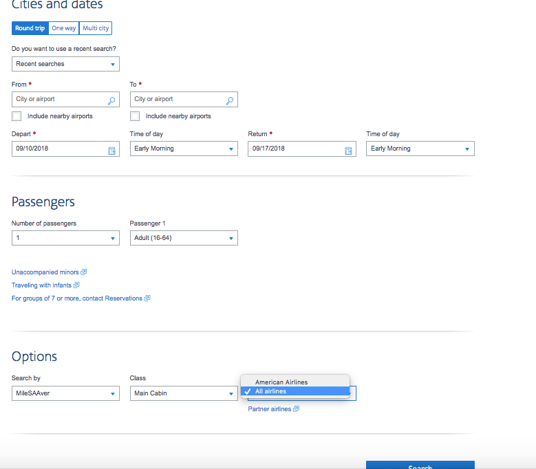 how to search for American Airlines award seat availability