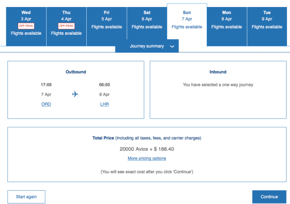 British Airways fuel surcharges on award flights to Europe