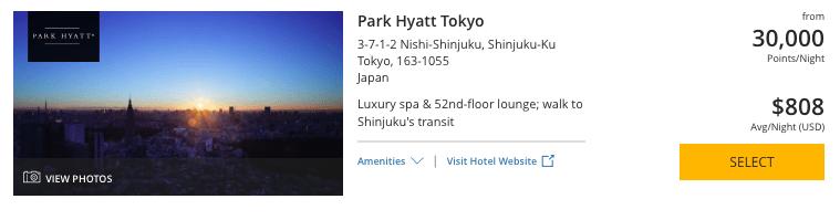 world of Hyatt points, park Hyatt Tokyo, chase ultimate rewards points
