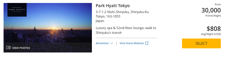 world of Hyatt points, park Hyatt Tokyo, chase ultimate rewards points