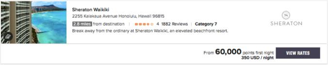 Sheraton Waikiki Marriott Bonvoy points