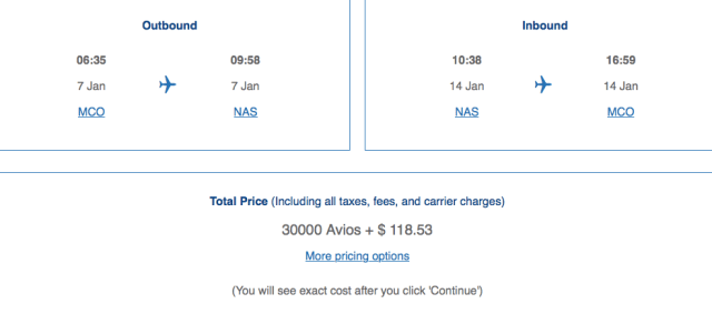 Award ticket pricing, Redeeming British Airways Avios