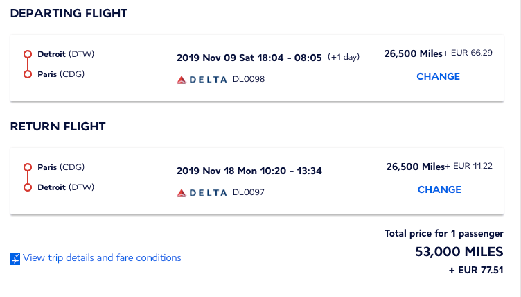 Delta flights booked with Airfrance/KLM Flying Blue miles