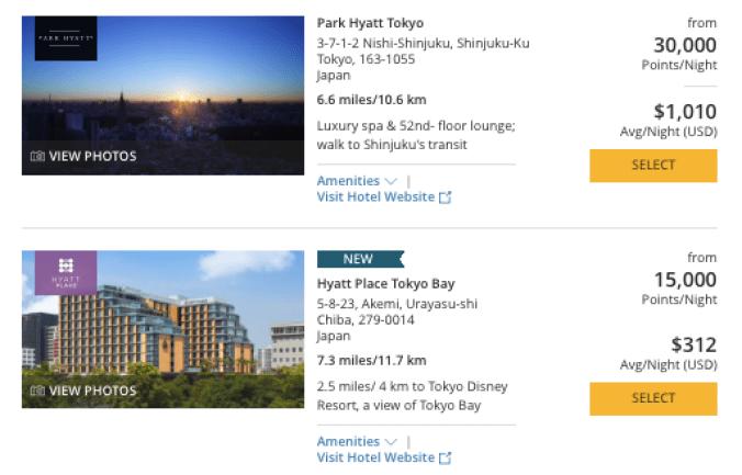 Hyatt in Japan, World of Hyatt points, park Hyatt Tokyo on points
