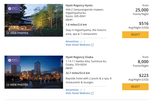 Hyatt in Japan, World of Hyatt points in Osaka