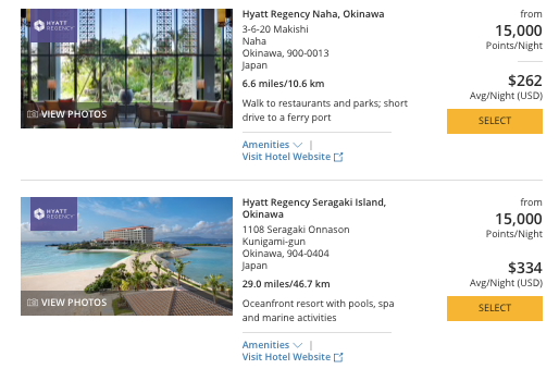 Hyatt in Japan, World of Hyatt points okinawa, How to redeem Ultimate Rewards for Japan hotels