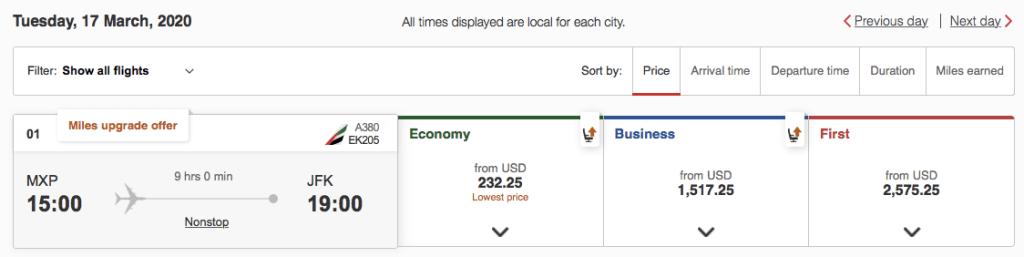 Chase Ultimate Rewards Emirates flights to Europe