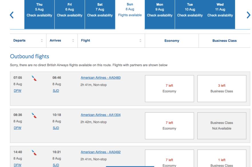 booking American Airlines, using British airways avios