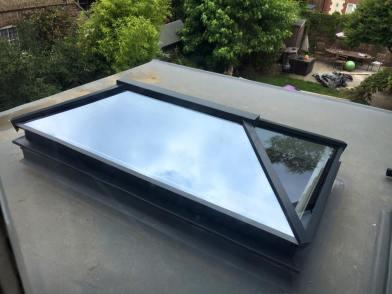 A contemporary aluminium roof lantern in anthracite grey aluminium