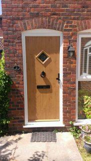 PVCu front door brown diamond panel