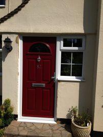 PVCu front door dark red
