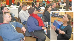Griselda Aguilera, inset, speaks to United Steelworkers Local 1010 in Hammond, Indiana, Dec. 7. Aguilera was youngest volunteer in Cuba's 1961 mass campaign that wiped out illiteracy.