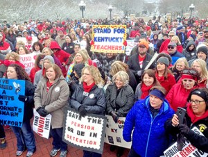 """""""This fight is worth fighting,"""" teachers and supporters chant at March 21 protest in Kentucky capital."""