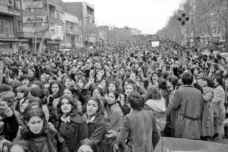 Tehran, March 8, 1979: 100,000 women and men poured into streets to protest attempts to impose compulsory head covering on women after overturn of U.S.-backed shah. Regime wasn't able to enforce restrictive dress legislation until 1983, as counterrevolution consolidated.