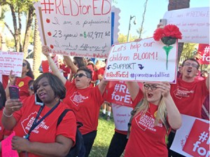 Thousands march in Phoenix and across Arizona March 28 against attacks on teachers.