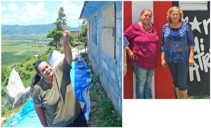 Left, Annette Aponte shows how containment wall broke behind her house in Yabucoa after storm. Above, Mildred Laboy, left, and Rosalina Abreu, leaders of Recreational and Educational Community Association of Mariana Neighborhood.